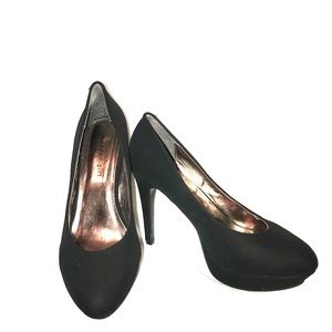 Madden Girl - black faux leather suede pumps -sz10